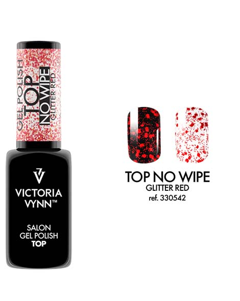 Gel Polish Top No Wipe Glitter Red de Victoria Vynn